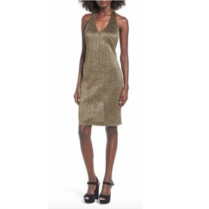 NWT Leith Midi Dress Medium Metallic Gold Black